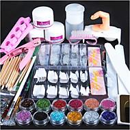 1set Acrylic Powder Glitter Nail Brush False Finger Pump Nail Art Tools Kit Set