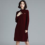 Damen A-Linie Kleid-Ausgehen Lässig/Alltäglich Einfach Solide Rundhalsausschnitt Asymmetrisch Kurzarm Baumwolle Frühling HerbstTiefe
