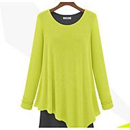 Damen Tunika Kleid-Lässig/Alltäglich Strand Urlaub Street Schick Patchwork V-Ausschnitt Asymmetrisch Langarm Baumwolle Frühling Herbst