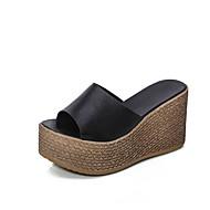 Damen-Slippers & Flip-Flops-Lässig-PU-Keilabsatz-Komfort-Weiß Schwarz