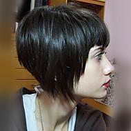 σύντομη αριστοκρατικό bob ευθεία μαύρο καπάκι χωρίς τάπα ανθρώπινη τρίχα περούκα με κτύπημα για τις γυναίκες το 2017