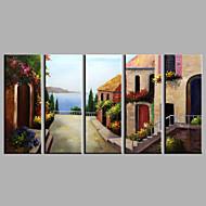 Pintados à mão Paisagem Vertical,Estilo Europeu 5 Painéis Tela Pintura a Óleo For Decoração para casa