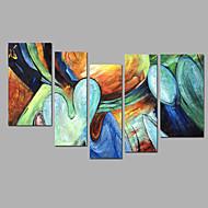 Hånd-malede Abstrakt Alle Former,Moderne Fem Paneler Kanvas Hang-Painted Oliemaleri For Hjem Dekoration