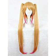 Longue blonde droite mélangée maquillée kobayashi dragon cosplay tohru 100cm anime cosplay wig2 ponytails cs-325b