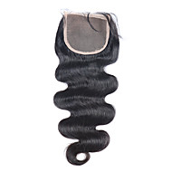 3.5X4 Lace Closure Bleached Knots Brazilian 100% Human Hair Lace Closure With Baby Hair For Black Women