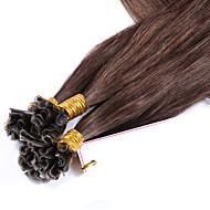 cabelo humano virgem prego cabelo brasileiro u ponta de extensões de cabelo de fus de queratina linear pré coladas cor # 4 1g / cadeia