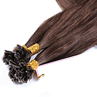 Human Hair Virgin Brazilian Hair Nail U Tip Keratin Fusion Hair Extensions Straight Pre Bonded Color #4 1g/Strand