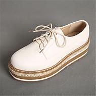 Dame-PU-Flat hæl-Komfort-Oxfords-Fritid-Hvit Svart Kakifarget