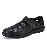 Bărbați Sandale Vară Confortabili Piele Outdoor Casual Toc Plat Negru Maro