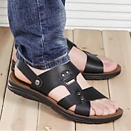 Miehet Sandaalit Comfort PU Kevät Kesä Kausaliteetti Comfort Musta Ruskea Sininen Tasapohja