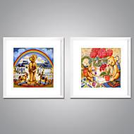 Impresiones  Enmarcadas En Lienzo Abstracto Caricatura Modern Realismo,Dos Paneles Lienzos Cuadrado lámina Decoración de pared For
