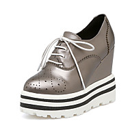 Feminino-Tênis-Sapatos clube-Anabela-Cinzento Vermelho-Pele-Escritório & Trabalho Social Festas & Noite