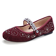 ObyčejnéTaneční boty-Balet-Semiš Semišování-Rovná podrážka-Černá Červená