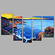 Kézzel festett Absztrakt Landscape Bármilyen alakú,Modern Öt elem Vászon Hang festett olajfestmény For lakberendezési