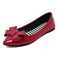 Для женщин Мокасины и Свитер Удобная обувь Полиуретан Весна Лето Повседневные Для праздника Удобная обувь Бант На плоской подошвеЧерный
