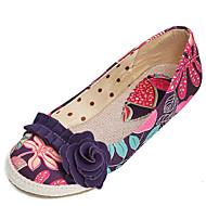 Damen-Flache Schuhe-Outddor Kleid Lässig-Stoff-Flacher Absatz-Leuchtende Sohlen Komfort-Purpur Grün