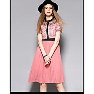 Damen A-Linie Kleid-Lässig/Alltäglich Strand Einfach Einfarbig Rundhalsausschnitt Asymmetrisch Kurzarm Kunstseide PolyesterFrühling