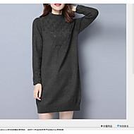Damen Bodycon Kleid-Lässig/Alltäglich Ausgehen Einfach Solide Rundhalsausschnitt Übers Knie Langarm Baumwolle Frühling HerbstMittlere