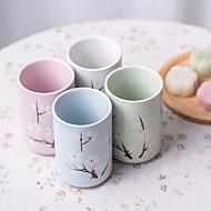 日本の桜の花のハンドプリント高温磁器飲料カップは、4つの異なる色で設定します