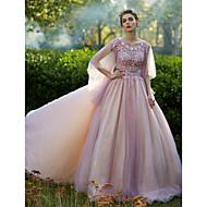 공식적인 이브닝 드레스 - 구슬 장식 주름 장식이있는 우아한 a-line 보석 바닥 길이의 레이스 얇은 명주 그물