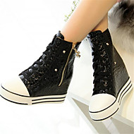 Ženske Sneakers Ljeto Udobne cipele PU Ležeran Ravna potpetica Crn Crvena
