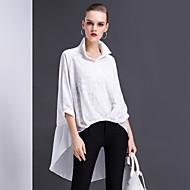 Feminino Camisa Social Para Noite Casual Trabalho Simples Moda de Rua Primavera Verão,Sólido Bordado Poliéster Colarinho de Camisa Manga ¾