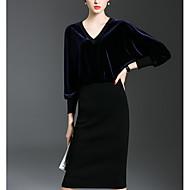 Damen A-Linie Kleid-Strand Lässig/Alltäglich Street Schick Solide V-Ausschnitt Asymmetrisch Kurzarm Kaschmir Frühling HerbstTiefe
