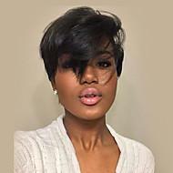 υφή μικρό φυσικό κυματιστό μαύρο καπάκι χωρίς καπάκι περούκα ανθρώπινη τρίχα για τις γυναίκες το 2017