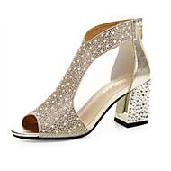 Dame Sandaler Komfort PU Vår Avslappet Komfort Flat hæl Gull Sølv Flat