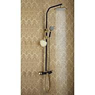 עתיק מערכת למקלחת מקלחת גשם מעמד ריצפתי with  שסתום קרמי שתי ידיות שלושה חורים for  Ti-PVD , ברז למקלחת