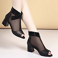 Women's Sandals Summer Comfort Cowhide Casual Chunky Heel Block Heel