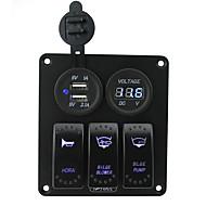 Iztoss blue led 3 gang 5pin rocker switch panel with 5V 3.1A(2.1A1A) Dual USB and 12V Voltmeter wiring kits DC12V/24V for Marine Boat Car Rv Vehicles