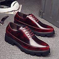 Masculino-Oxfords-Chanel-Salto Baixo Salto Grosso-Preto Vermelho Roxo Escuro-Couro Ecológico-Casual