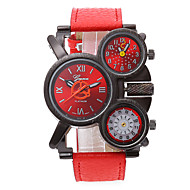 Military Watch Three Time Zones Quartz Leather Band Cool Black Red Navy