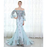 Formal Evening Dress Trumpet / Mermaid Off-the-shoulder Sweep / Brush Train Tulle with Lace