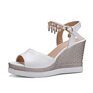 Feminino-Sandálias-Sapatos clube-Anabela-Branco Preto Rosa claro-Couro Ecológico-Casamento Escritório & Trabalho Social