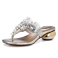 Damen-Slippers & Flip-Flops-Lässig Kleid-Leder-Blockabsatz-Fersenriemen-Gold