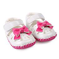 ילדים-סנדלים-PU-צעדים ראשונים נעלי ילדת הפרח-שחור חום אדום-חתונה שמלה יומיומי מסיבה וערב-עקב שטוח