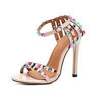 Feminino-Sandálias-Conforto Inovador Gladiador Sapatos clube-Salto Agulha-Preto Amêndoa-Courino-Casamento Ar-Livre Escritório & Trabalho
