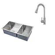 32 pouces tablier ferme 60-40 profonde double vasque calibre 16 évier de cuisine de luxe en acier inoxydable