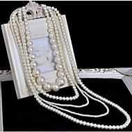 Da donna Collane Layered Collana di perle A croce Perla Di tendenza Multistrato Bianco Grigio chiaro Gioielli PerOccasioni speciali