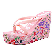 Femme-Habillé-Noir Rose-Talon Compensé-club de Chaussures-Sandales-Gomme