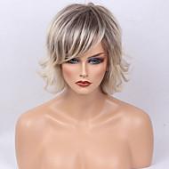 Naisten Ihmisen hiukset Capless Peruukit Harmaa Lyhyt Luonnolliset aaltoilevat Bob-leikkaus Kerroksittainen leikkaus Otsatukalla