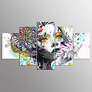 Stretched Canvas Print Abstract Portrait Modern,Five Panels Canvas Any Shape Print Wall Decor For Home Decoration