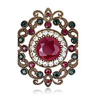 Dámské Brože Křišťál imitace drahokamu Jedinečný design Módní Barva ozdobného kamene Flower Shape Červená Zelená Šperky ProSvatební Párty