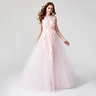 2017 TS Couture® Formal Evening Dress - Beautiful Back Ball Gown Jewel Floor-length Lace Tulle with Flower(s) Pleats
