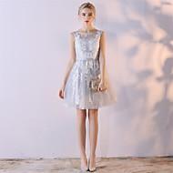 Cocktail party jurk a-line scoop knie-lengte organza met borduurwerk