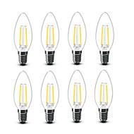 2W E14 LED žárovky s vláknem C35 2 COB 200 lm Teplá bílá Ozdobné AC220 AC230 AC240 V 8 ks