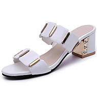 Naiset Sandaalit Comfort PU Kesä Kausaliteetti Puku Comfort Ruutukuvio Leveä korko Valkoinen Musta 2-2,75in