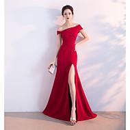 Sirena / trompeta un umăr podea lungă satin rochie de seară formal cu pliuri